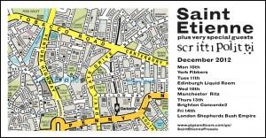 Saint Etienne Scritti Politti Tour 2012